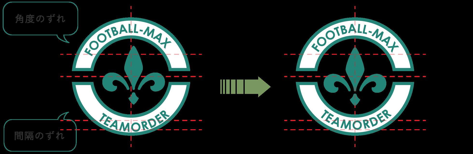 エンブレム 角度や配置の修正