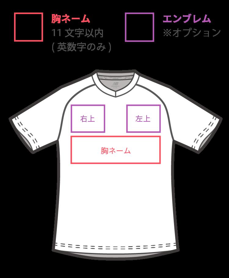 new balance マーキング箇所 ゲームシャツ 前面